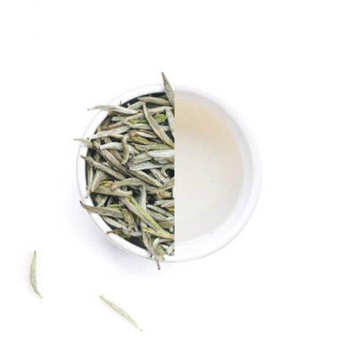 Baihao yinzhen witte theebladeren en thee van Mevrouw Cha in een witte theekop.