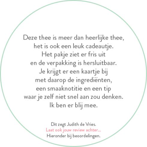 Beoordeling van Judith de Vries over groene theemelange
