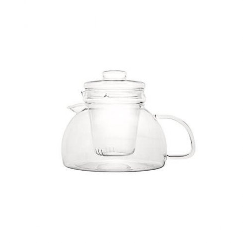 Handgemaakte Mevrouw Cha theepot van glas en glazen theefilter.