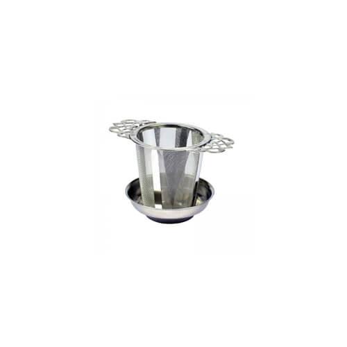 Theezeefje met theetipje, zilver kleurig gemaakt van RVS en duurzaam.