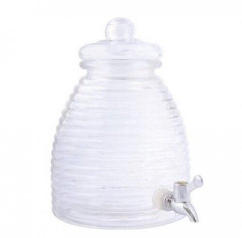 Glazen ijsthee karaf in vorm van een bijenkorf.