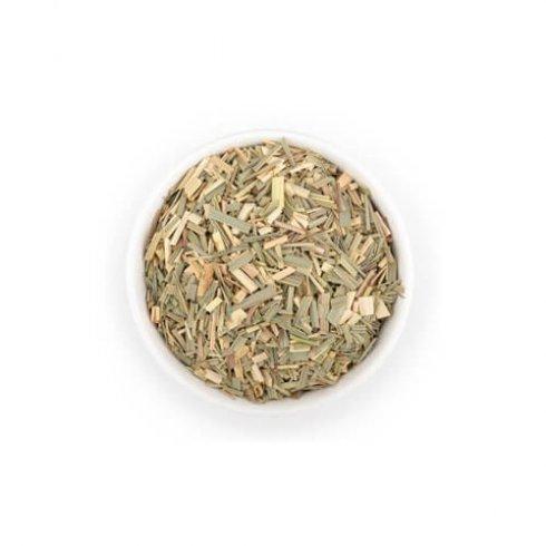 Lemongrass citroengras kruiden thee Mevrouw Cha in witte theekop.