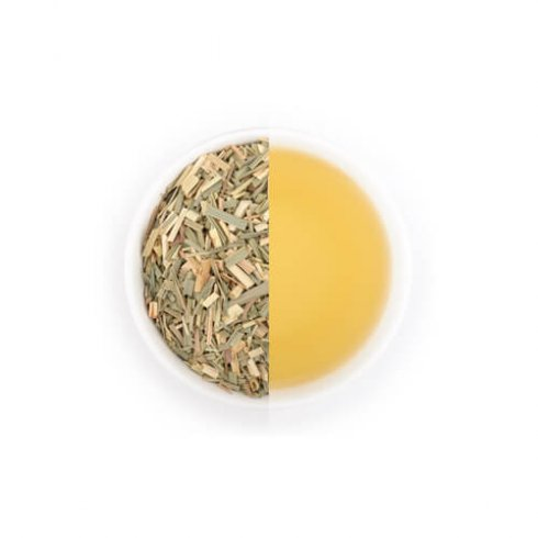 Lemongrass citroengras kruiden thee van Mevrouw Cha in witte theekop.