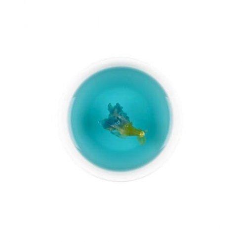 Kittelbloem, Vlindererwt bloesem thee van Bali, biologische blauwe thee in een kopje