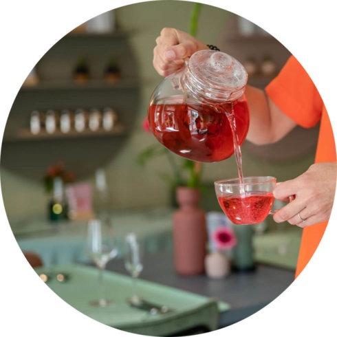 Glazen theepot met filter van Mevrouw Cha